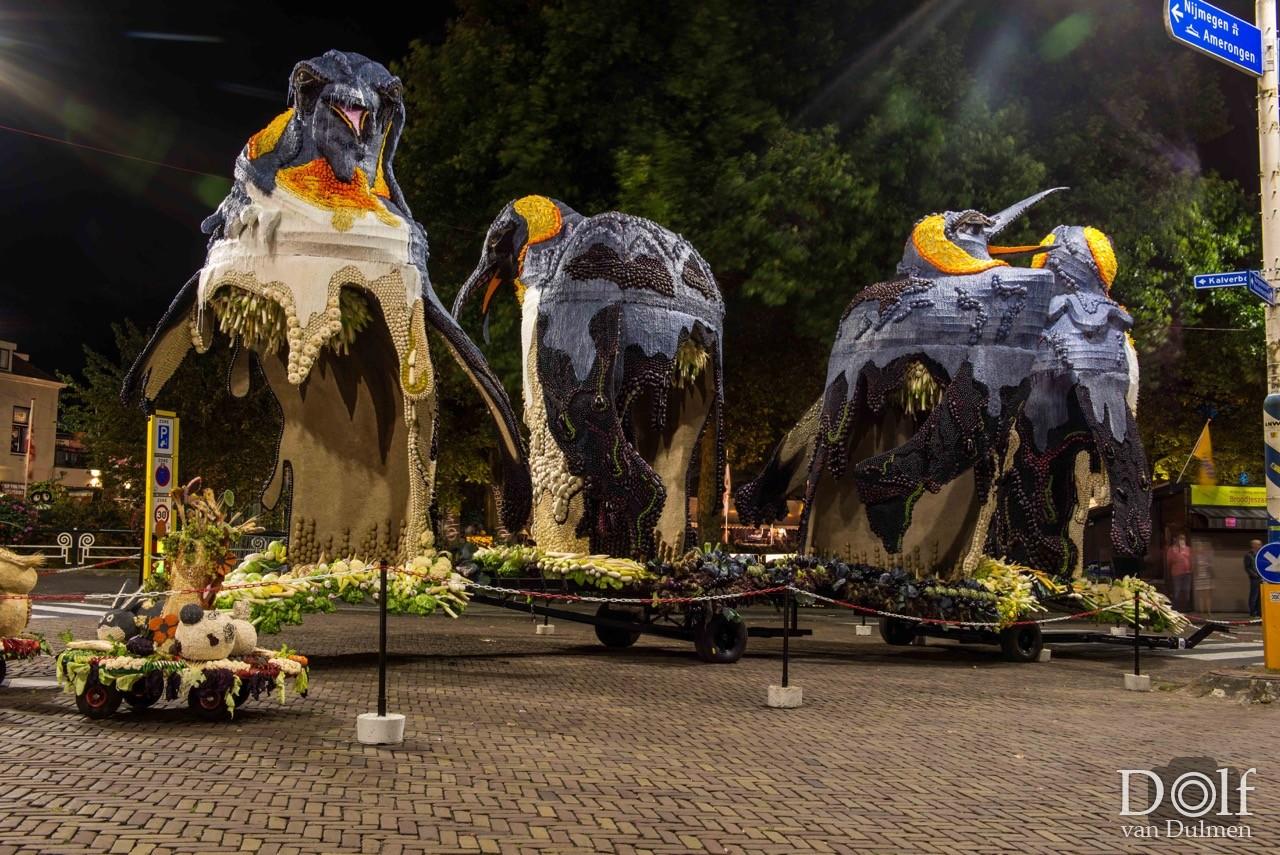 * CORSO BY NIGHT *     Fruitcorso Tiel 2016, de wagens staan opgesteld om te worden tentoongesteld. Straatverlichting icm lange sluitertijd geeft een heerlijk sfeervol beeld.